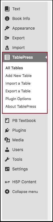 Table Press Menu