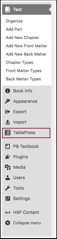 Select TablePress