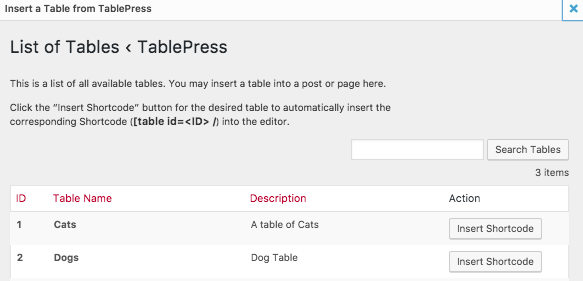 Image of Tablepress List of Tables