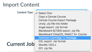 "image of the ""content type"" dropdown in Canvas's ""Import Content"" area. The ""Common Cartridge 1.x package"" option is selected."